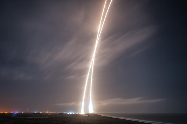 Launch and Landing, taken with a Long Time Exposure